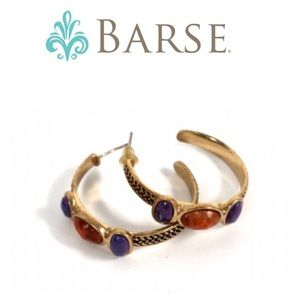 EUC. Barse Hoop Earrings w/Purple& Orange Stones